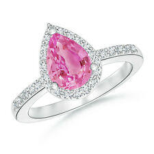 Pear Shape Natural Pink Sapphire Engagement Wedding Ring with Diamond 14k Gold