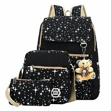 Girls Canvas Backpack 3 Piece Set Star Pattern Laptop Bookbag School Backpack