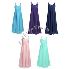 Pleated Chiffon Flower Girls Wedding Bridesmaid Bow Back Formal Party Dress 4-14