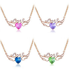 Valentine Day Love Crystal Angel Wings Heart Crystal Pendant Necklace Beauty