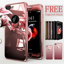 360° Hybrid Ultra Thin Mirror Case Tempered Glass Cover For iPhone 7 6S 6 S Plus