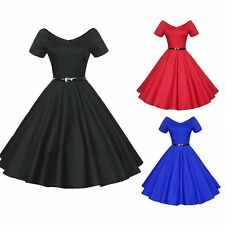 Vintage Rockabilly Swing Evening Party Dress 40s 50s Retro Emo Pin Up Cocktail