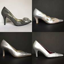 Orlando Grey Silver Pointed Leather Court Shoes Pink Floral Cut-out Mid Heel