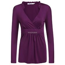 New Women Sexy Cross Ruffle V-Neck Long Sleeve Tunic Solid Pleated Top Knit ED01