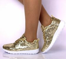 LADIES GOLD SEQUIN GLITTER SPARKLY TRAINERS PUMPS GIRLS CASUAL SHOES SIZE 3-8