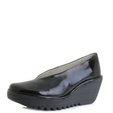 Womens Fly London Yaz Patent Black Luxor Leather Wedge Heel Shoes Shu Size