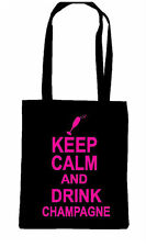 KEEP CALM AND DRINK CHAMPAGNE WINE TOTE TRENDY SHOPPING SHOP BAG MOTHERS DAY