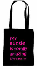 AUNTIE AUNT AUNTY QUOTE TOTE SHOPPING BAG PERSONALISED WORLDS BEST AUNTIE LOVE