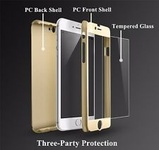 360° Full Body Hybrid Hard Case Cover + Tempered Glass Protector For iPhone 6 6+