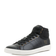 Mens Fly London Balk Black Mid HI top Leather Fashion Trainers Shu Size