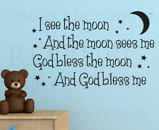 Wall Quote Decal Sticker Vinyl Art Lettering God bless the moon Nursery B71
