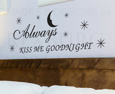 Wall Decal Quote Sticker Vinyl Art Always Kiss Me Goodnight Love Marriage L48