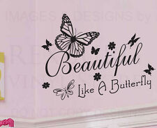 Wall Decal Quote Sticker Vinyl Lettering Graphic Beautiful like a Butterfly J8