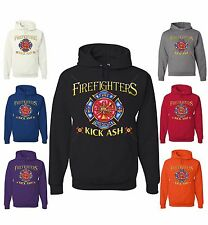 Firefighters Kick Ash Funny Sweatshirt Fireman Volunteer Fire Dept Crest Hoodie