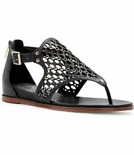 Vince Camuto Sitara Flat Thong Sandal Perforated Black Leather Gold Metal Buckle