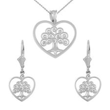 14k White Gold Tree of Life Open Heart Filigree Necklace & Matching Earring Set