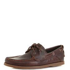 Mens TImberland Heritage Boat Dark Brown Leather Deck Shoes Shu Size