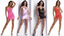 Sexy Mini Dress Gogo Net Halter Neck Dress Strass S-L 36 38 40 Many Colours Neon