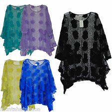 WOMENS ITALIAN STYLE LAGENLOOK NET MESH DRESS CROCHET TOP TUNIC FIT UK SZ 14-22