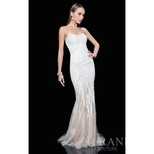 Terani Couture 1611GL0473 Strapless Sweetheart Beaded Ivory Nude Gown Prom Dress