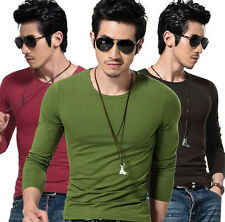NEW Slim Fit T-shirts Mens Cotton Tee Shirts Solid Long Sleeve Casual Tshirts