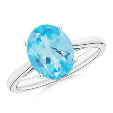 3.6 ctw Natural Solitaire Oval Blue Topaz Ring 14k White Gold/Platinum Size 3-13