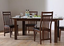 Java Extending Dark Wood Dining Room Table and 4 6 Chairs Set