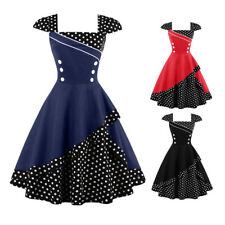 Vintage Style 50 60s Polka Evening Party Housewife Pinup Rockabilly Swing Dress