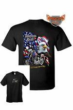 Men's Biker T-Shirt USA Flag American Pride Motorcycle Bald Eagle  Chopper Tee