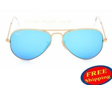 RAY BAN Aviator Sunglasses Gold Frame RB 3025 POLARIZED Blue Flash Mirror 58&62