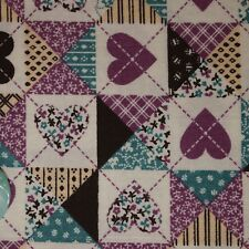 Quilt Fabric Calico Purple Heart Patch by Fabric Traditions: FQ or Cut-to-Order