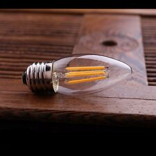 4W E26 E27 Edison COB LED Filament Light lamp Candle bulb WARM WHITE 110V/220V