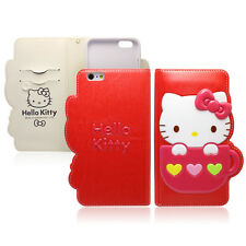 Hello Kitty iPhone 6/6s Plus Case Wallet Cover Clutch Made Korea Mug 4Colors