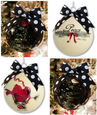 Cypress Home Glass Peaceful Christmas Ornaments, Set of 4