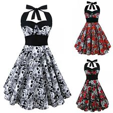 Red Skull Retro 50s 60s ROCKABILLY DRESS Skater Pinup Cocktail Rock Party Dress