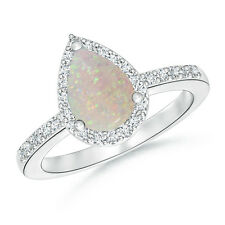 1.1 ctw Pear Shaped Opal Engagement Ring with Diamond 14k White Gold Size 3-13