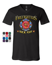 Firefighters Kick Ash V-Neck T-Shirt  Volunteer FD Fire Rescue Tee