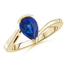 Pear Shaped Solitaire Sapphire Bypass Ring 14K Yellow Gold/ Platinum Size 3-13