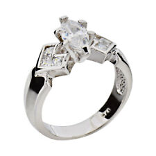 Marquise Cubic Zirconia Sterling Silver Jewelry Women Wedding Engagement Ring