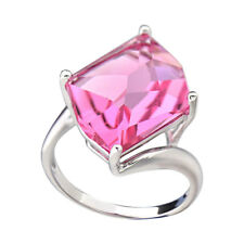 Sterling Silver Cushion Rose Crystal Women's Wedding Engagement Ring Solitaire