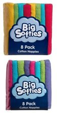 Big Softies 8 Pack Cotton Towelling Nappies Assorted Colours Reusable Nappies