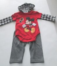 Disney Baby Two-Piece L/S Hooded Outfit, Mickey Mouse,  3-6 & 6-9 Month, NWT