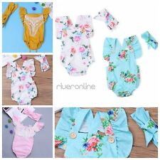 Baby Girl Clothes Kids Newborn Floral Ruffle Headband Outfit Romper Bodysuit New
