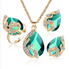 Elegant Peacock Crystal Necklace Ring Earrings Set Wedding Bride Women Jewelry