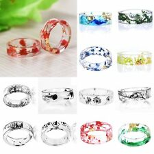 Natural DIY Real Dried Flower Scenery Painting Resin Ring Women Wedding Jewelry