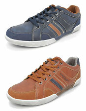 Mens Leather Look Lace Up Casual Comfort Leisure Shoes Trainers Brown Blue 6-12