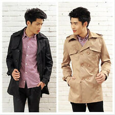 7018 Men's Slim Double Breasted Trench Coat Fashion Long Jacket Overcoat Outwear