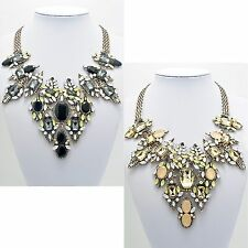 Ladies Vintage Black Gold Sparkle Rhinestone Chunky Spring Statement Necklace