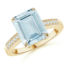 Emerald Cut Aquamarine Cocktail Ring with Diamond 14K Yellow Gold Size 3-13
