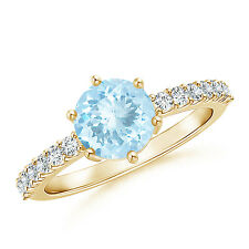 Natural Aquamarine Solitaire Ring with Diamond Accents 14k Yellow Gold/ Platinum